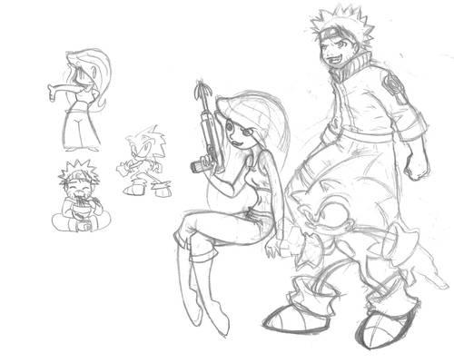 Sonic, Kim, and Naruto