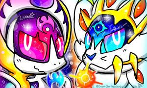 Pokemon Sun sand Moon: Solgaleo and Lunaala by DedenneLolitaArts98