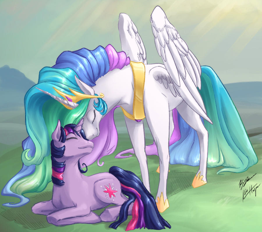Celestia and Twilight by angelwingkitty