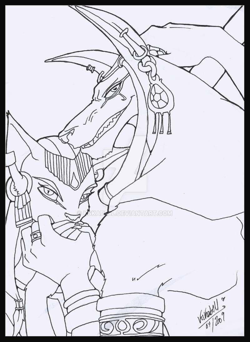 Lineart:Anubis and Bastet by KsKaBeLL