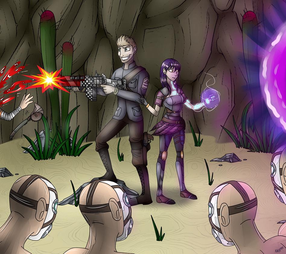 Cave Battle by DarkRavenofChaos