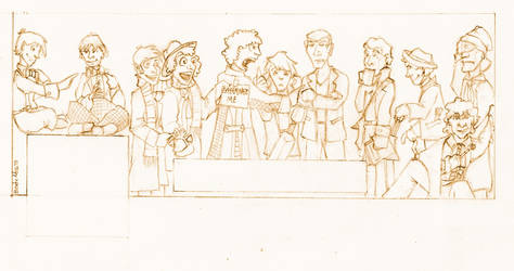 The Eleven Doctors - pencil on paper