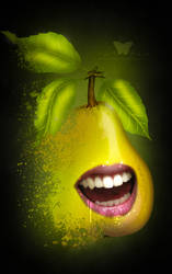 Biting Pear Portrait by FreeSpiritFotography