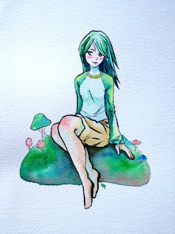 Green Mushroom Girl by lokineko