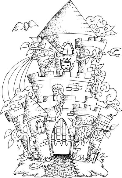 fairy house with details for adult coloring book by ...
