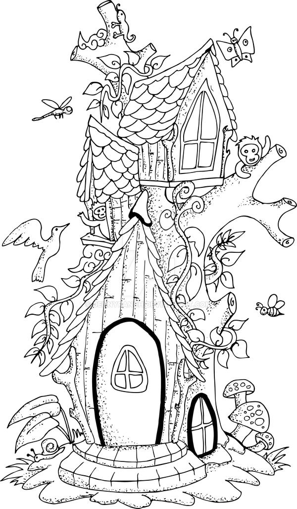 illustration of a fairy tree house hand drawn by ...