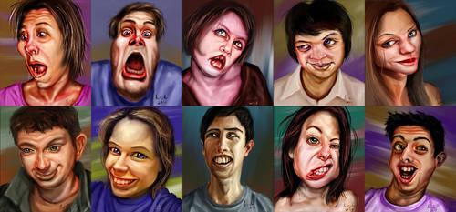 One hour portraits - August - part 1 by falsegodz