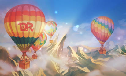 Hot air balloon in the valley of light