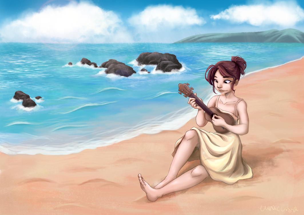 Ukulele At The Sea by YukiSachiko