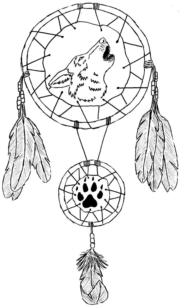 Wolf Dream Catcher Coloring Page