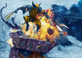 Wolverine- sentinel fight by LeeBaba