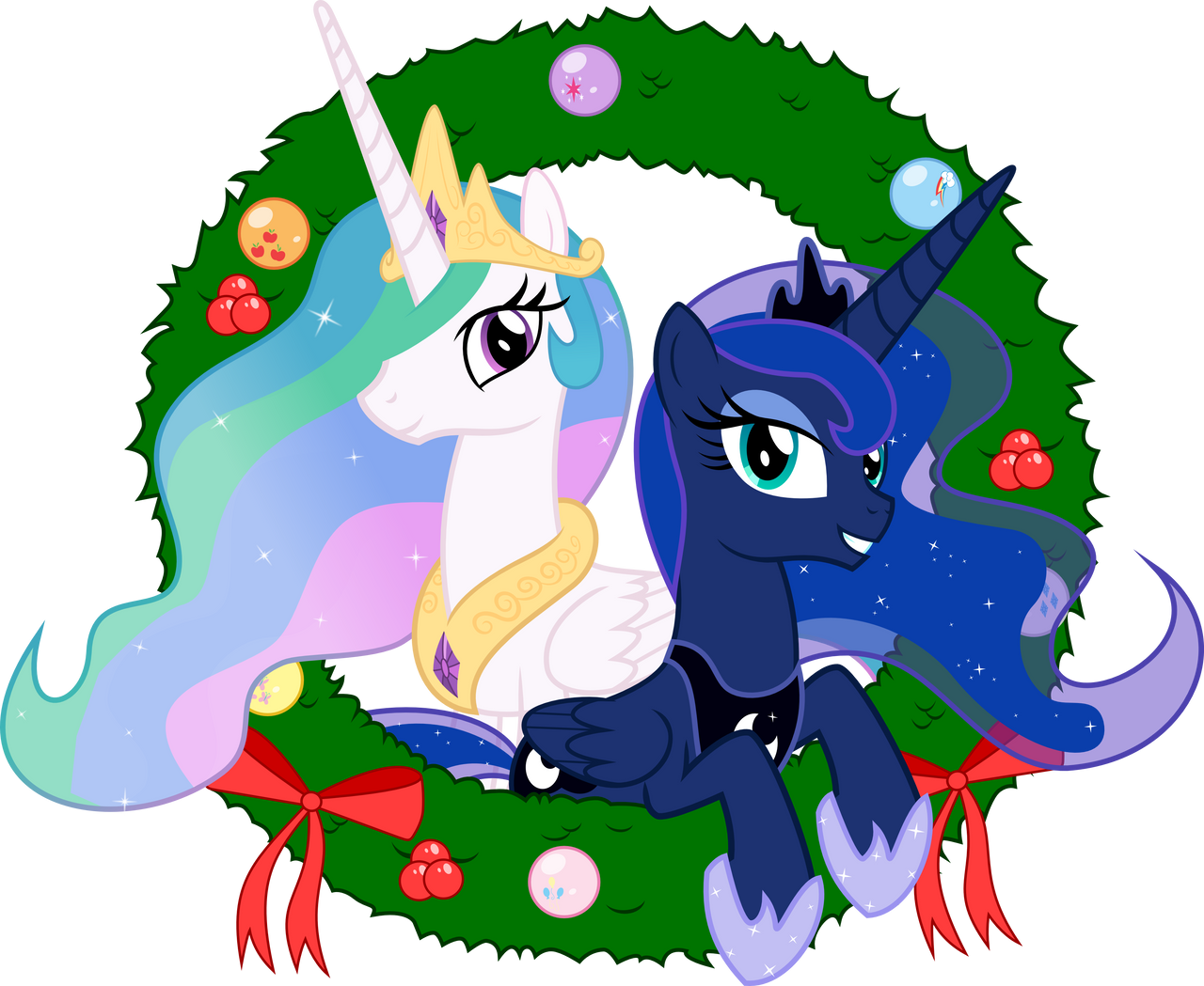 Celestia and Luna - Seasons Greetings by Takua770
