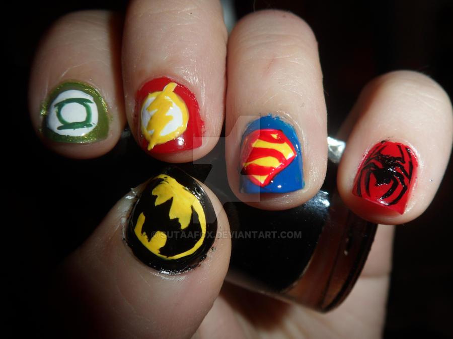 Superhero Nail Art by SutaaFox ... - Superhero Nail Art By SutaaFox On DeviantArt