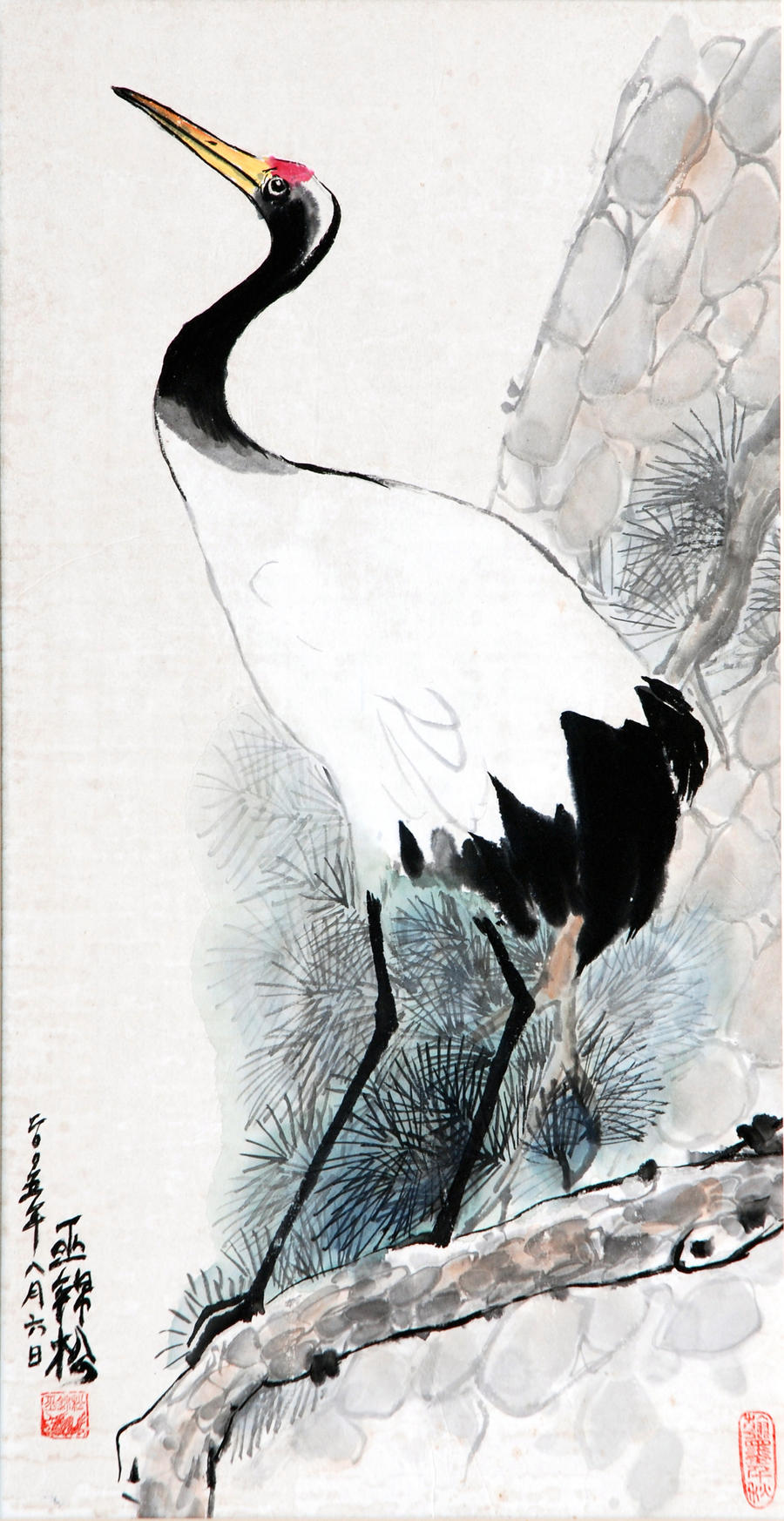 Japanese crane 2 by tboonip1 on deviantart for Japanese watercolor paintings