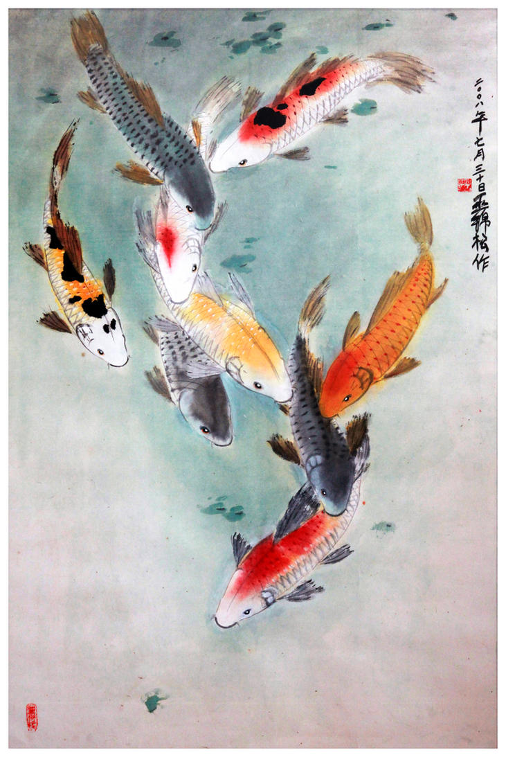 Eight japanese koi by tboonip1 on deviantart for Koi fish japanese art