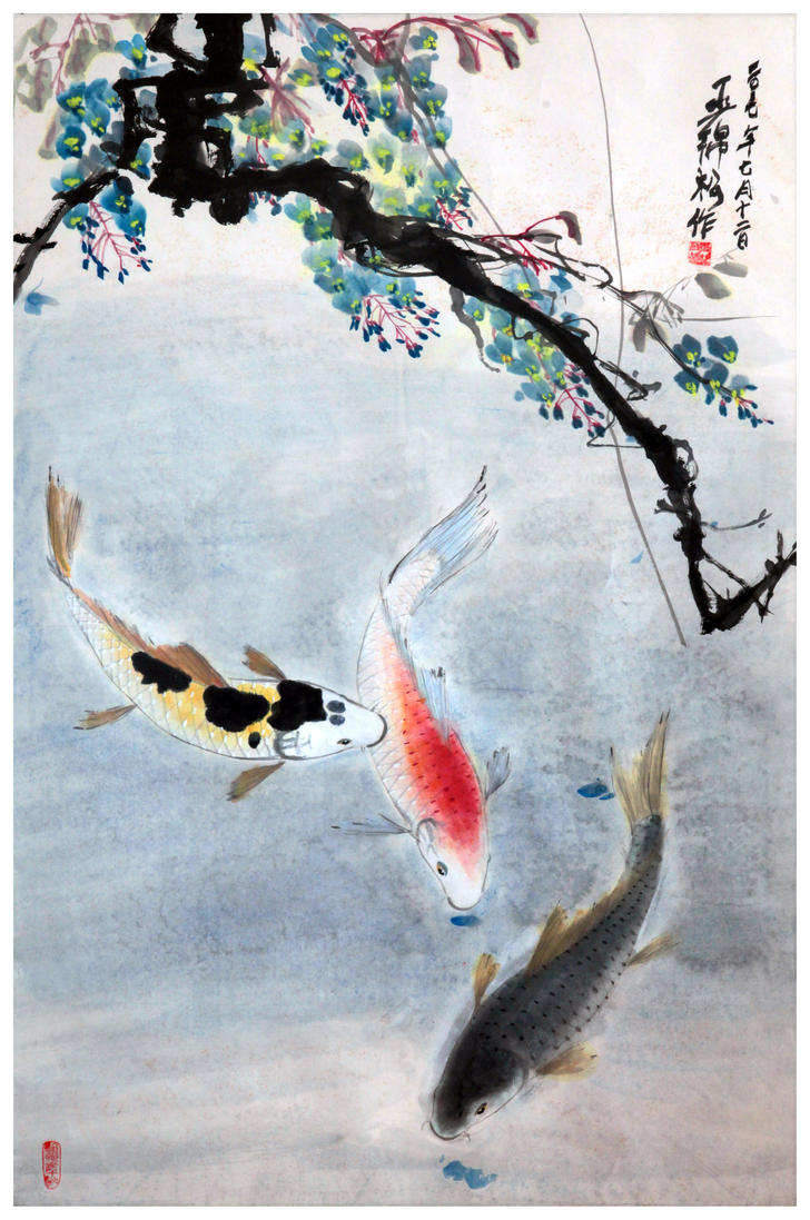 Koi fish in pond by tboonip1 on deviantart for Koi fish pond help