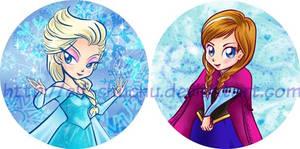 Elsa and Anna Pins