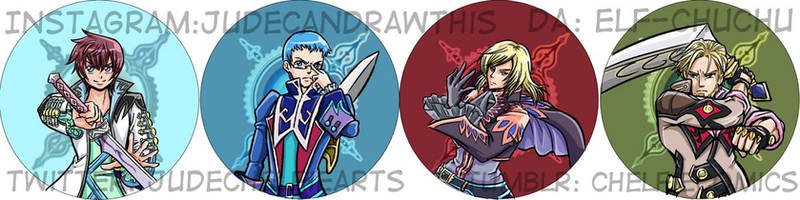 Tales of Graces buttons by Elf-chuchu