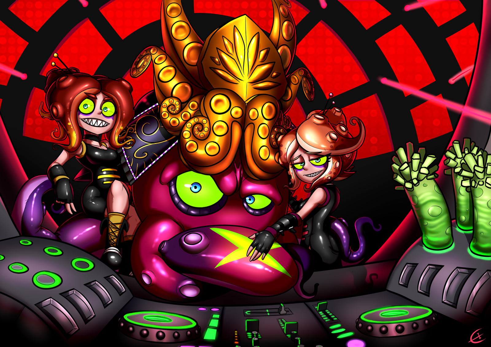 DJ Octavio and the Octo Sisters by efrejok