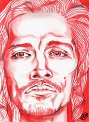 Brandon Boyd portrait in red by Arsenid