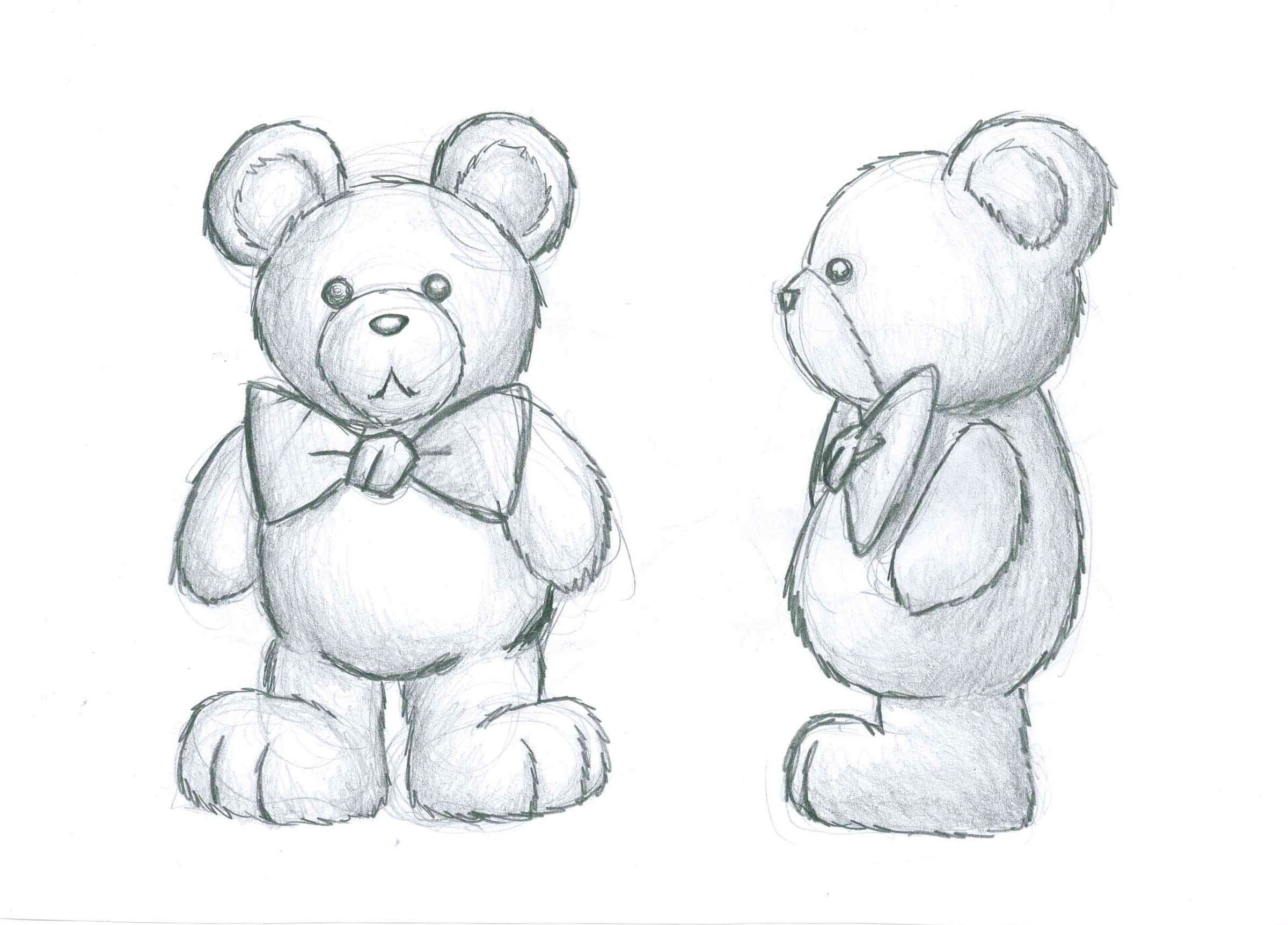 Своими руками, картинки плюшевого медведя карандашом