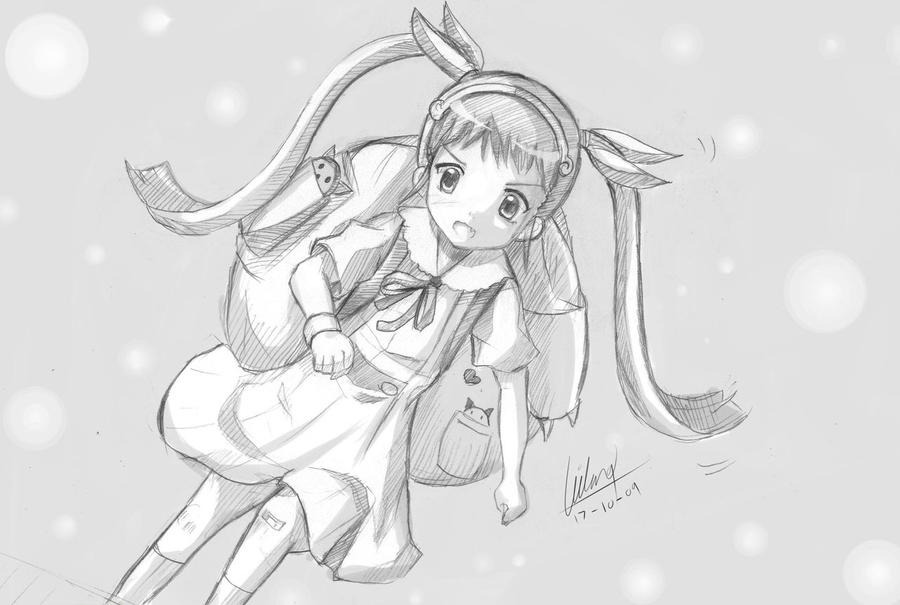 Sketch of Hachikuji Mayoi by Kazenokaze