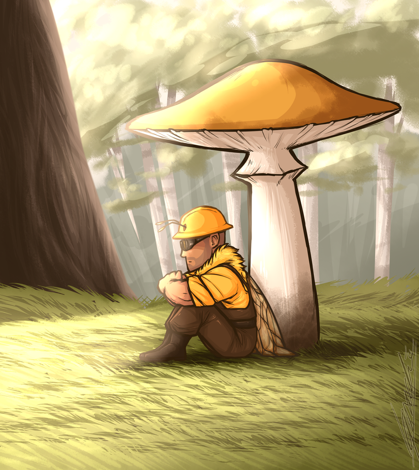 Resting under a mushroom by Nara-chann