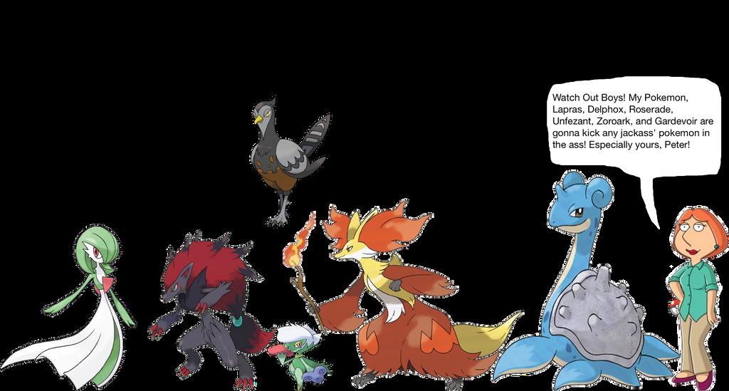 Lois Griffin S Pokemon Lapras Delpho Roserade Unfezant Zoroark
