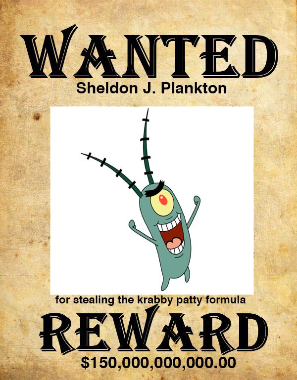 Plankton Wanted Poster by darthraner83 on DeviantArt