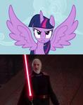 Twilight Sparkle facing Count Dooku
