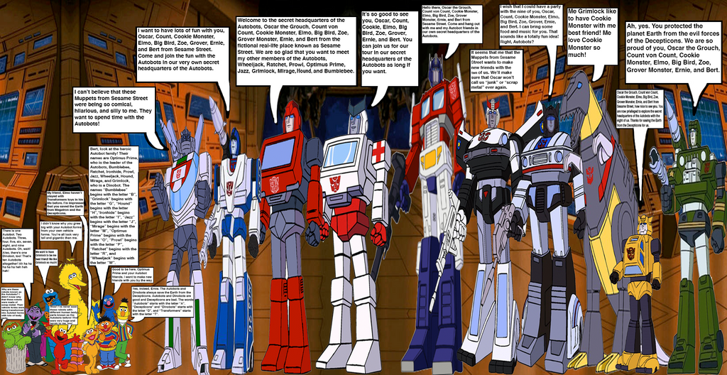 Sesame Street gang meets the Autobots by OptimusBroderick83