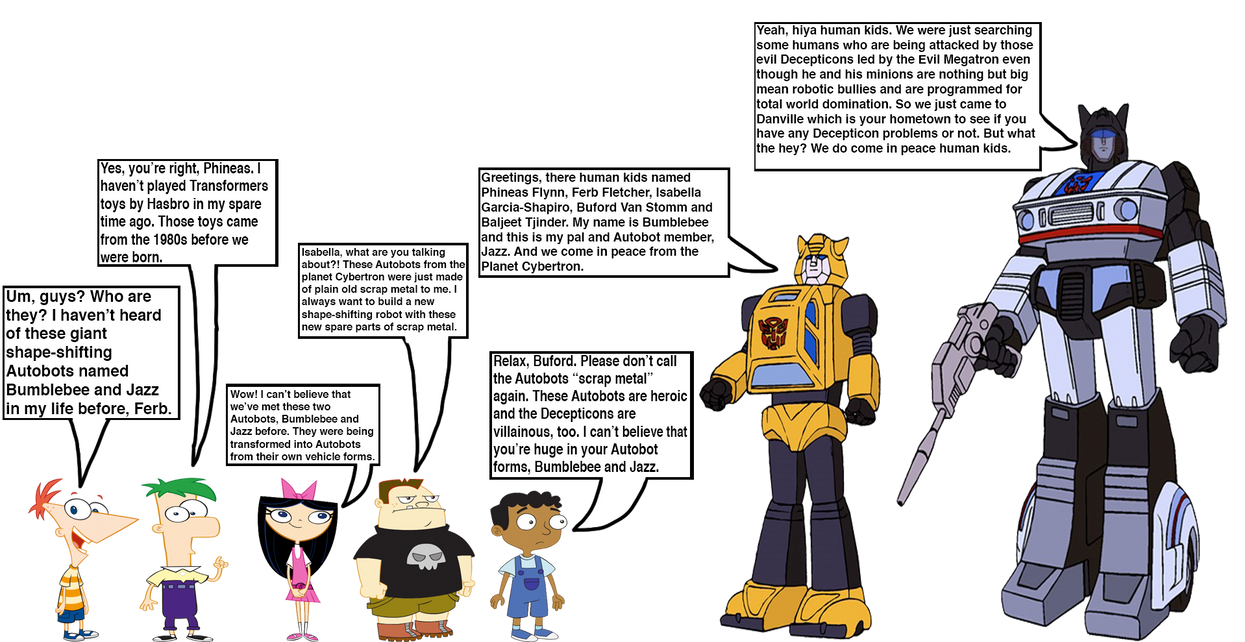 Phineas And The Gang Meets Jazz And Bumblebee By Optimusbroderick83 On Deviantart