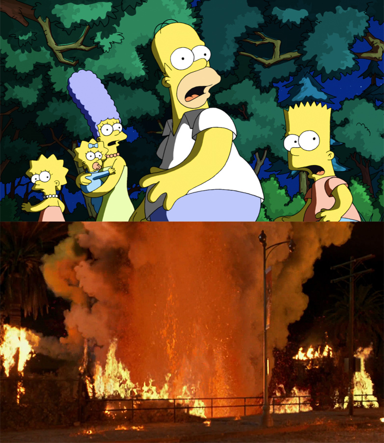 The Simpsons shocked to see a Volcano in L.A.