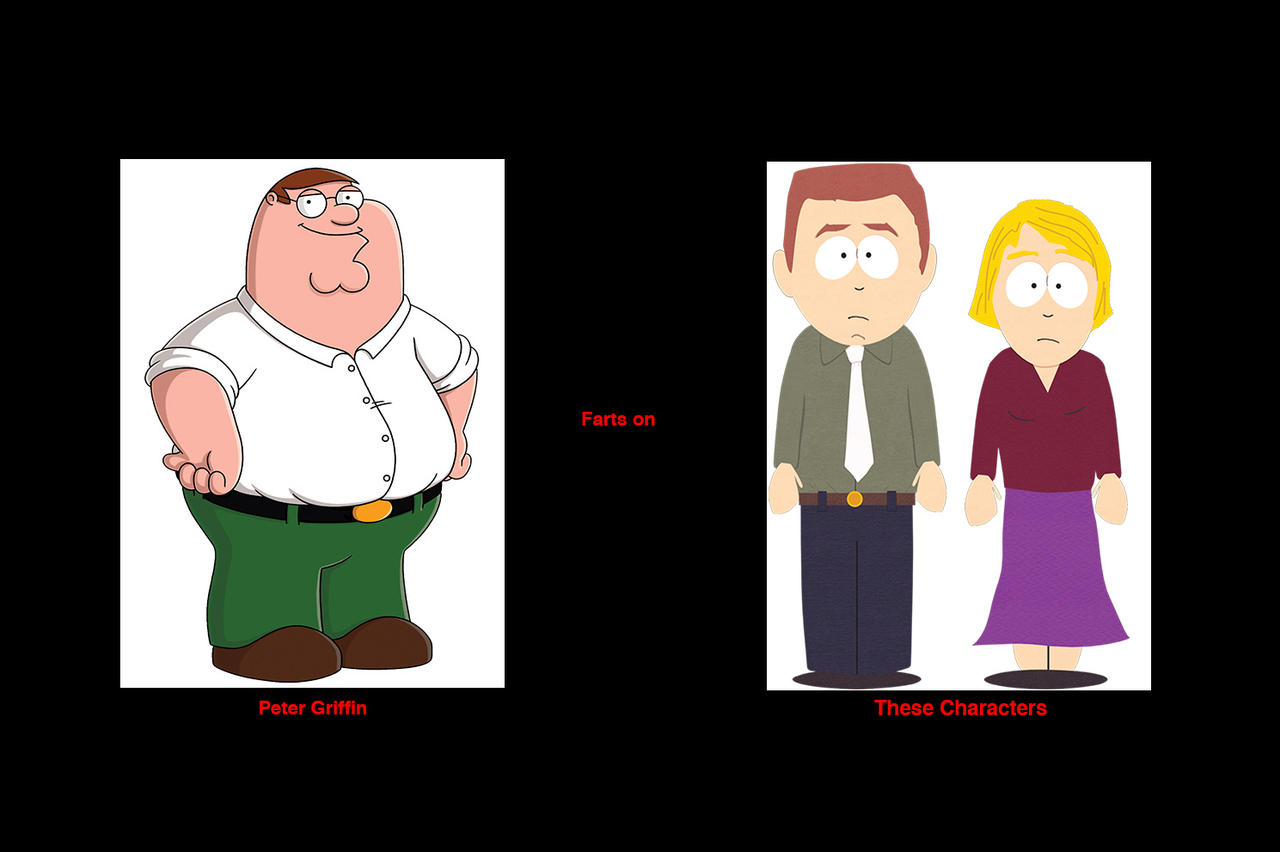 Peter Griffin farts on Stephen and Linda Stotch