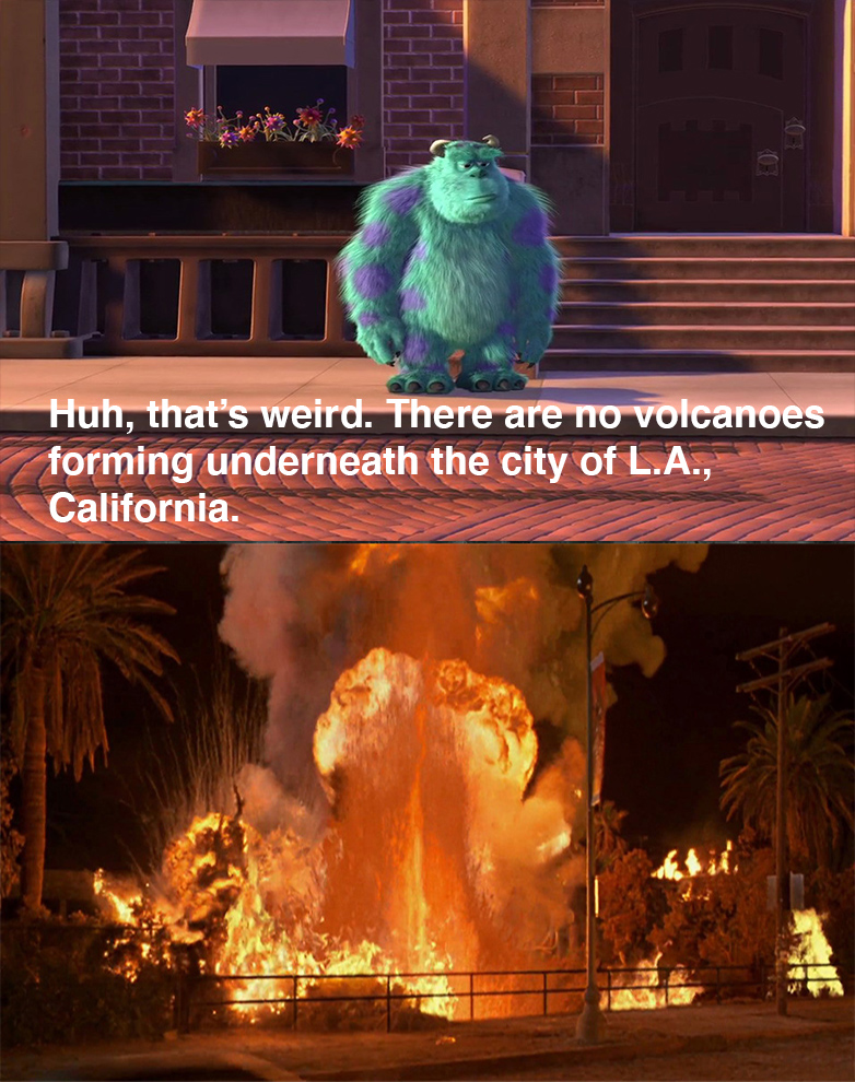 Sulley reacts to the Volcano erupting scene