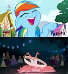 Rainbow Dash laughing at Lottie