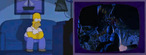 Homer Simpson watching Starship Troopers (1997)