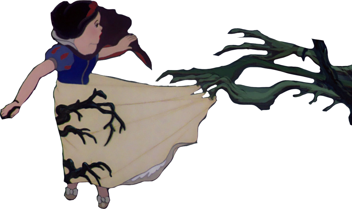 Princess Snow White dragged by tree branches