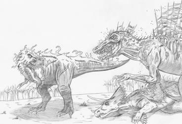 Symbiote T-Rex vs. Rot Spinosaurus by spidervenom022