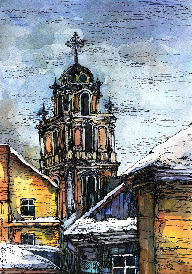 Snowy Vilnius by tichooo