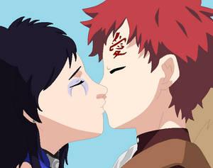 Tsugumi and Gaara share a kiss