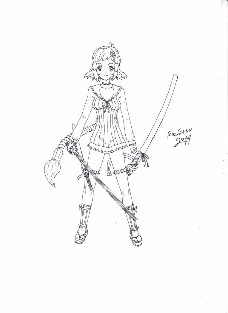 Senki Zesshou Samurai Bride 1 Line Art by riockman