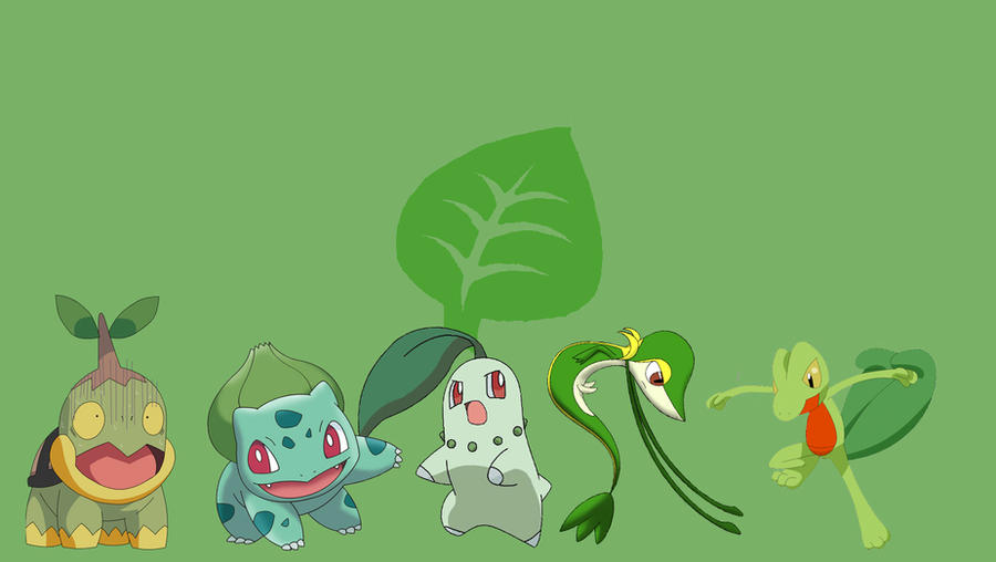 Pokemon Grass type Starters by puppikat on DeviantArt