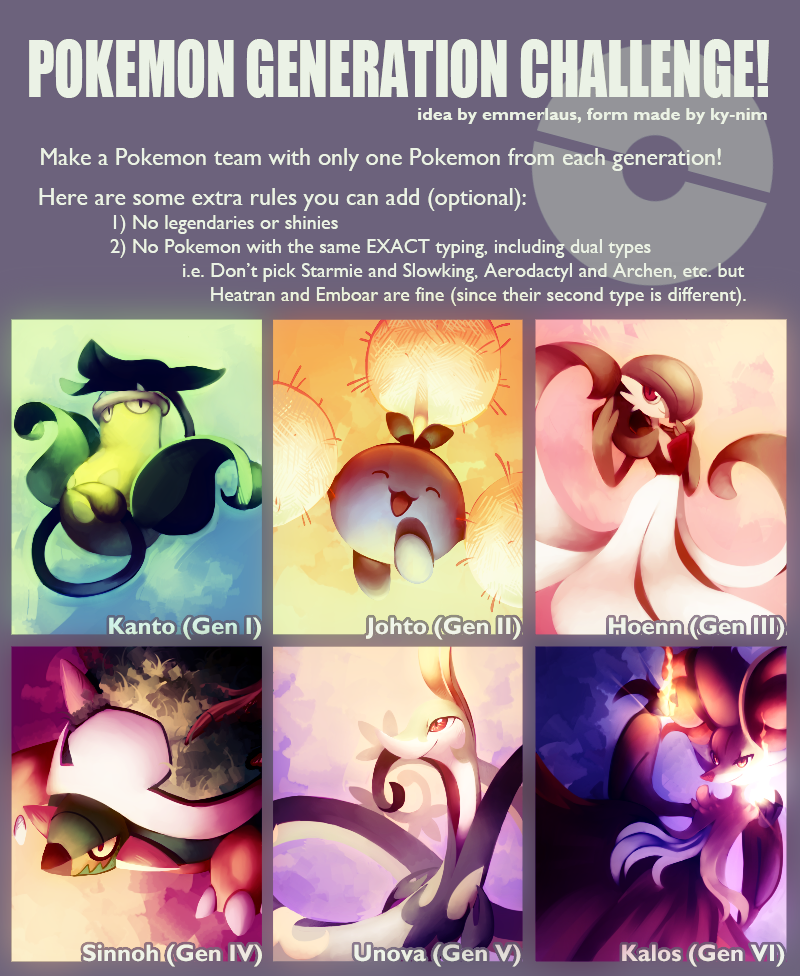 Pokemon Generation Challenge by Sylvaur