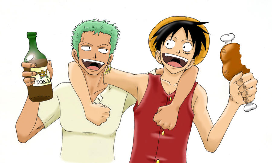 Zoro and Luffy by wall...