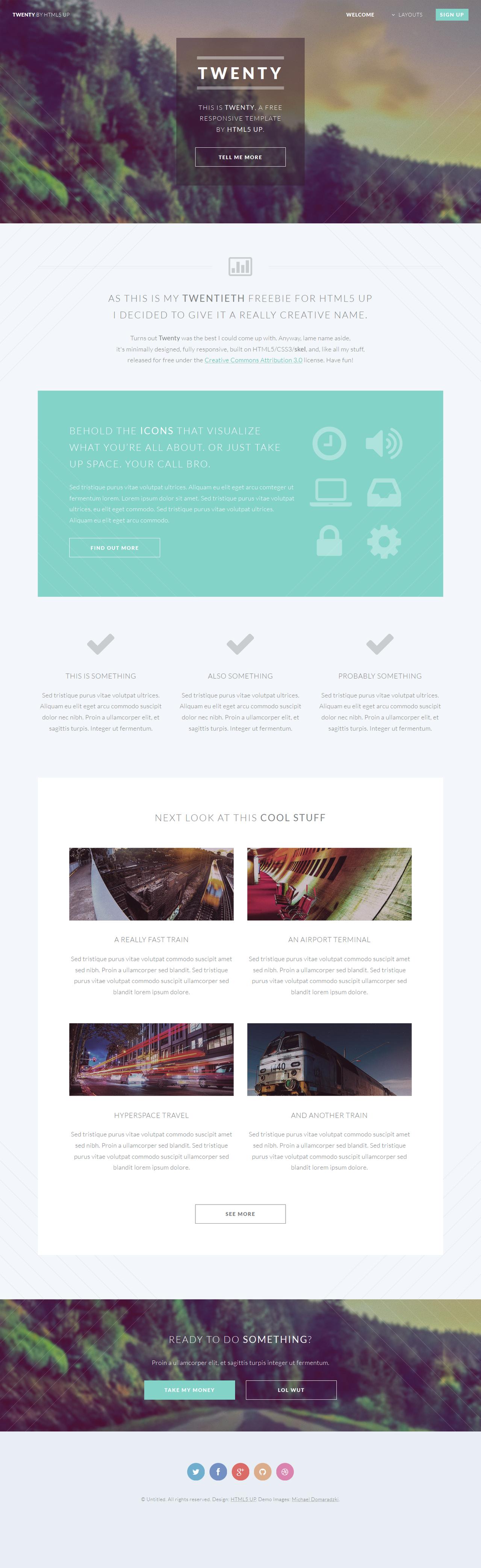 Twenty (responsive site template freebie) by nodethirtythree