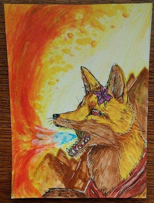 And I see fire.../Aceo request by GingerAdy