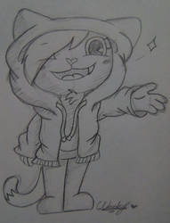 Cadence with a hoodie