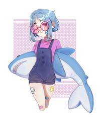 girl with blue hair with a shark