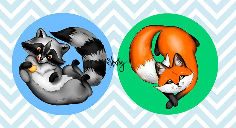 Raccoon and fox by Alfa-Renard